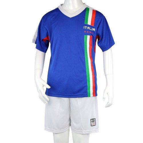 ITALIEN WM 2014, Fußball Kinder Trikot-Set mit Hose und Mesh-Einsätzen, blau/weiß, Gr. 96-104