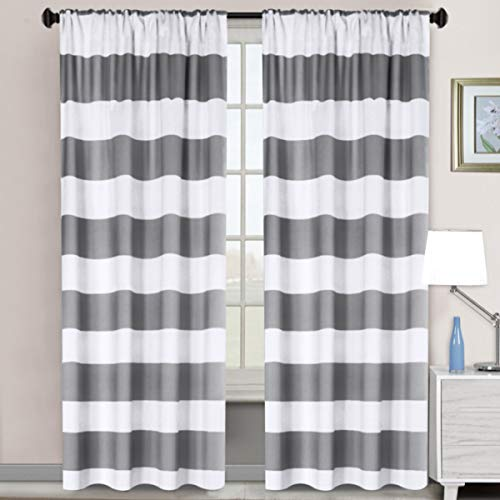 Room Darkening Thermal Insulated Blackout Rod Pocket Window Curtains for Living Room/Bedroom, Striped Grey & Pure White, 52 x 96 - Inch, 2 Panels