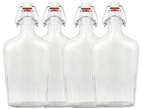 Set di 4 bottiglie di vetro Fiaschetta, con chiusura a leva, 0,5 litri