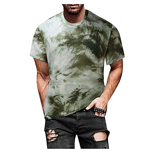 YANFANG Blusa Superior De Camiseta Manga Corta Estampada Informal Ajustada Verano para Hombre,Print tee Hombre, Hombre PoliéSter,2-Gris,L