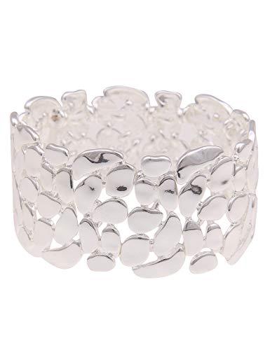Leslii Damen-Armband XXL-Armreif Glanz-Muster Statement-Armband breiter Armreif silbernes Modeschmuck-Armband in Silber