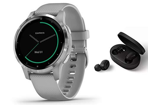 Garmin Vivoactive 4S schlanke, wasserdichte GPS-Fitness-Smartwatch mit Trainingsplänen & animierten Übungen, Silber/Grau + BT Headset