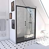 Paroi de douche à porte coulissante - CRUSH 140-140x200cm - PORTE COULISSANTE - PROFILE NOIR MAT -...