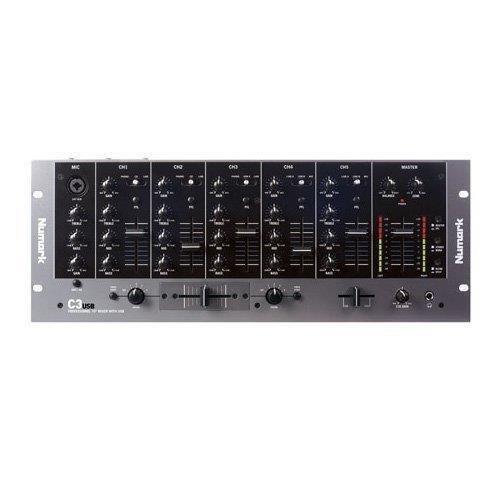 Numark C3USB - Mezclador de DJ de Rack y Portátil de 5 Canales con Interfaz de Audio USB Interna