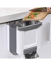 Kitchen Bin,Rubbish Bin Plastic Folding Wall Mounted for Cupboard Door Hanging Trash Can 8L