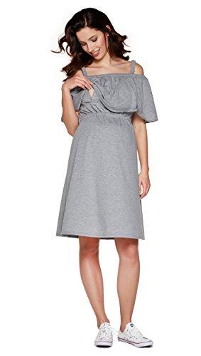 Be! Mama 2in1 Umstandskleid, Stillkleid, Damenkleid aus Baumwolle, Modell: Mimi, grau, XL