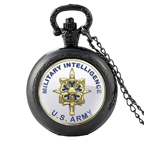 Clásico Militar Inteligencia Militar EE.UU. Ejército Vintage Cuarzo Reloj de Bolsillo Hombres Mujeres Cristal Cúpula Colgante Collar Horas Reloj Regalos