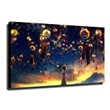Premium Giclee Bell Wind Chime In Summer Night Anime Poster Canvas Wall Painting Art for Living Room Bedroom Bathroom Decor and Modern Home Decorations Modern Stretched Artwork (No Framed,16x32 inch)