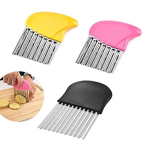 Esteopt Cuchilla de acero inoxidable para patatas, 3 cuchillas onduladas para cortar patatas, verduras y frutas