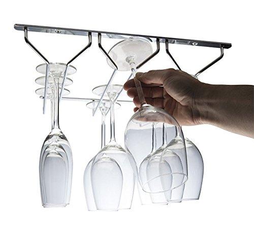 CKB Ltd® Hängeschienen für Gläser mit Stiel, hängende Aufbewahrung für unter den Küchenschrank, unter das Regal, 3 Reihen, zur Aufbewahrung, 35 x 34 x 5,5 cm – Glaswaren, Weingläser und Sektflöten
