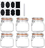 Encheng 25 oz Glass Jars With Airtight Lids And Leak Proof Rubber Gasket,Wide Mouth Mason Jars With Hinged Lids For Kitchen Canisters 750ml, Glass Storage Containers 6 Pack …