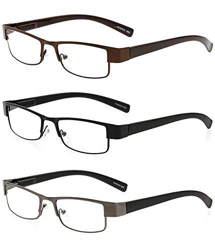 Twinkleyes Lesebrillen Metall Sehhilfe Augenoptik Brille Lesehilfe für Damen Herren (3 Farben(Schwarz Grau Braun), 2.5)