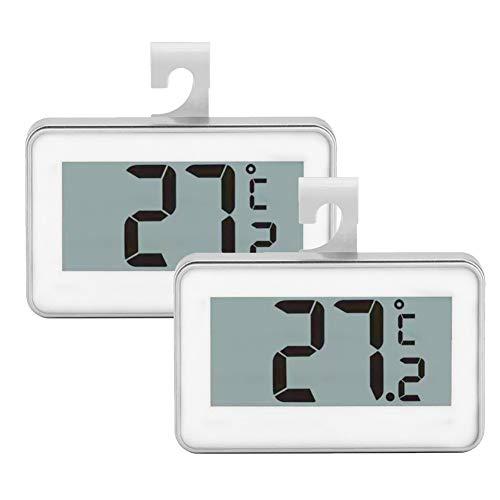 Set of 2 Fridge Thermometer,Digital Refrigerator Freezer Thermometer Monitor with Hanging Hook(White)