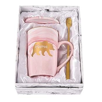 Mama Bear Marble Coffee Mug Bear Mug for Mom Coffee Mug Cup for Women from Daughter Son Best Gift for Mom On Mothers Day Christmas Birthday Marble Coffee Mug with Box Spoon Coaster 14 Oz Pink