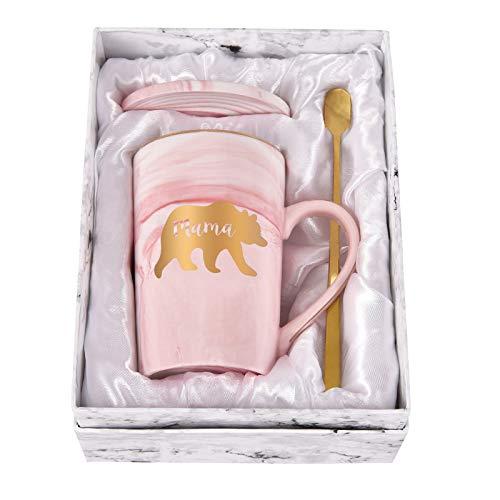 Mama Bear Marble Coffee Mug Bear Mug for Mom Coffee Mug Cup for Women from Daughter Son Best Gift for Mom On Mothers Day Christmas Birthday Marble Coffee Mug with Box, Spoon, Coaster, 14 Oz Pink
