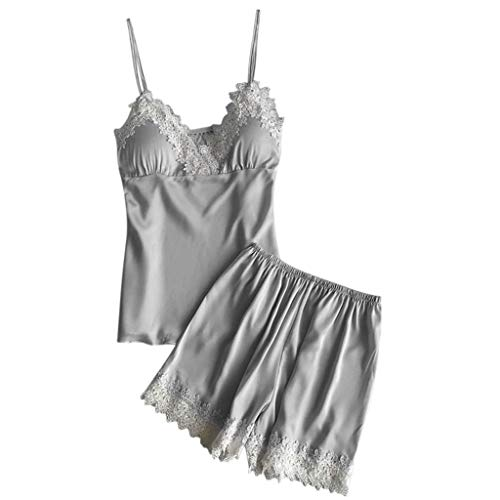 Proumy Conjunto de Pijamas Verano Mujer Baratas Dos Piezas Pijama de Encaje Blanca Bata de Tiras Finas con Calzoncillos Ropa de Dormir Camisola Floral Traje de Talla Grande Lencería Gris Elegante