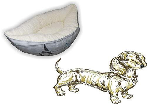 LunaChild Hundebett Hund Boot Böötchen Dackel 5 Hundeboot Sofa Lounge Hundelounge mit Name Wunschname Snuggle Bag Größe XS S M L viele Farben Hundekörbchen