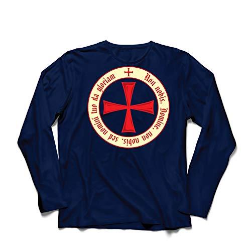 lepni.me Camiseta de Manga Larga para Hombre El Código de los Templarios Orden de Caballero Cristiano, Cruz del Cruzado (Large Azul Multicolor)