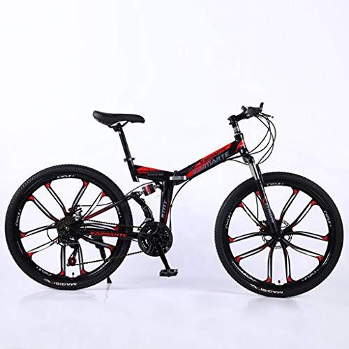 WGYBREAM Vélo VTT, Vélo Tout Terrain, Vélo de Montagne, 26' 21 de Ravine Pliable vélo Unisexe 24 27 Vitesses Vélos de Montagne VTT Double Frein à Disque Double Suspension Carbone Cadre en Acier