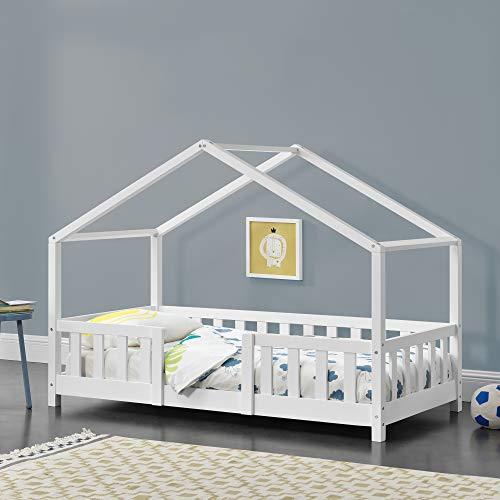 Cama para niños de Madera Pino 70 x 140 cm Cama Infantil con Reja Protectora Casita Forma de casa Blanco Mate Lacado