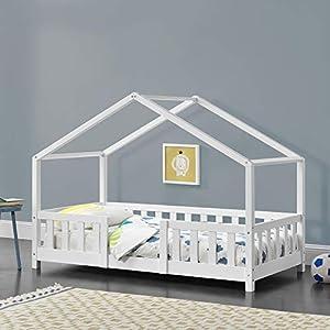 Cama para niños de Madera Pino 80 x 160 cm Cama Infantil con Reja Protectora Casita Forma de casa Blanco Mate Lacado