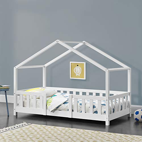 Kinderbett mit Rausfallschutz 70x140cm Hausbett mit Lattenrost und Gitter Bettenhaus aus Holz Spielbett Weiß