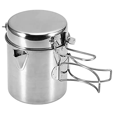 Lixada Camping Cooking Kettle 1L Stainless Steel Pot with Foldable Handle and Dual Use Cover Portable for Hiking Backpacking Picnic