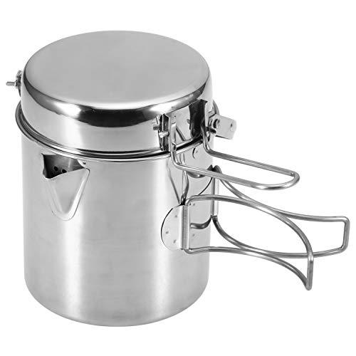 Lixada Hervidor de agua de cocina de 1 litro de acero inoxidable con mango plegable para exteriores, camping, senderismo, pícnic, senderismo, L