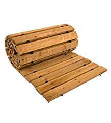 8' wooden garden walkway Weather-resistant Cedar planks Connected with wire and rubber Spacers Rinse with a hose to clean Rolls up for easy movement or storage