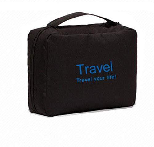Cosmetic Bag_Lady Travel Cosmetic Bag Hanging Folding Storage Bag Custom Waterproof Letter Wash Bag, Black, 22 * 16 * 7Cm