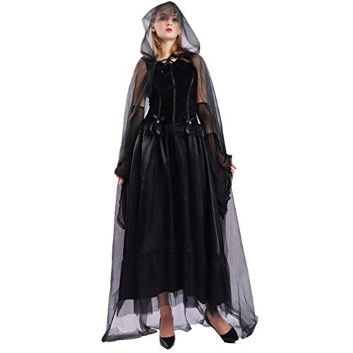 NUOBESTY 4 peças Capa com capuz de Halloween Elegante Vestido Monk Priest Robe Cloak Luvas Fantasia Kit para Vampiro Bruxa Fantasma Noiva Cosplay Festa G Preto
