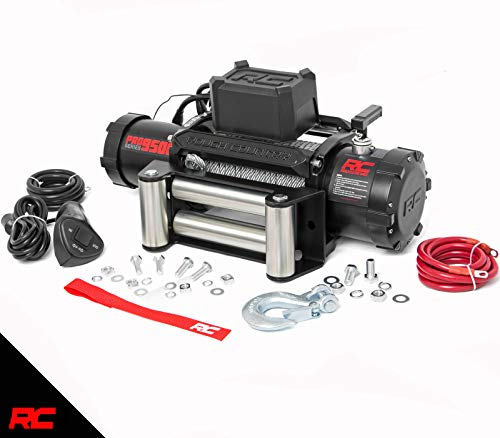 Rough Country 9,500 LB PRO Series Electric Winch | 100 FT Steel Rope | Fairlead | Clevis Hook | 12 FT Remote | PRO9500