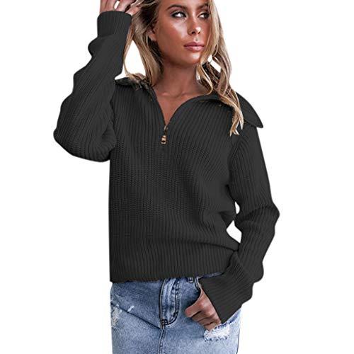 Pull Femme Sexy Pas Cher Col V Revers A Zippé Large en Maille Coton Hiver Chaud Manches Longues Couleur Unie La Mode Tendance Simple Decontracté Pullover Sweat (S(EU34), Noir)