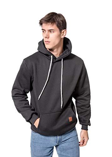 Herren Sweatshirt Kapuzenpullover Pullover Hoodie Hoher Kapuzenansatz Känguru-Tasche Gerippte Ärmel und Abschlussbündchen Sweatjacke Casual Streetwear Basic Style, Schwarz, L