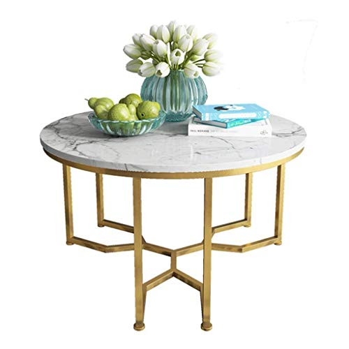 WSHFHDLC coffee table End Tables Round Natural Side Table for Small Spaces Marble Writing Desk Tables for Corner Tables Metal Modern Living Room Furniture small coffee tables (Size : 60cm)