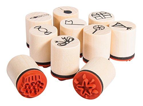 Rayher Hobby 68098000 Set 10 Mini-Holzstempel Celebrate, 2,5cm, 2cmø, Motive rund ums Feiern, zum Gestalten von Karten, Geschenkanhängern… Motivstempel