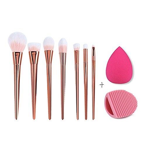 RY@ Professionnel 7pcs / set maquillage pinceaux cosmétiques mis en poudre Foundation Eyeshadow outil brosse à lèvres (rose or)