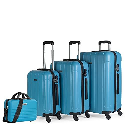 ITACA - Set di 4 valigie rigide da viaggio 4 ruote Trolley 55/64/73 cm + Beauty case ABS. Maniglia Maniglie Lucchetto. Piccola Cabina Media e Grande. 771100, Color Turchese