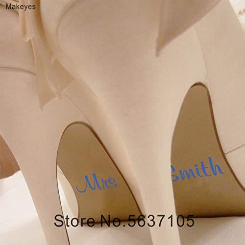 BLOUR Makeyes Mrs Custom Name Hochzeitsschuh Aufkleber Aufkleber Hochzeitsdekoration Personalisierte Namen Vinyl Schuhe Dekor Wallpaper Q124