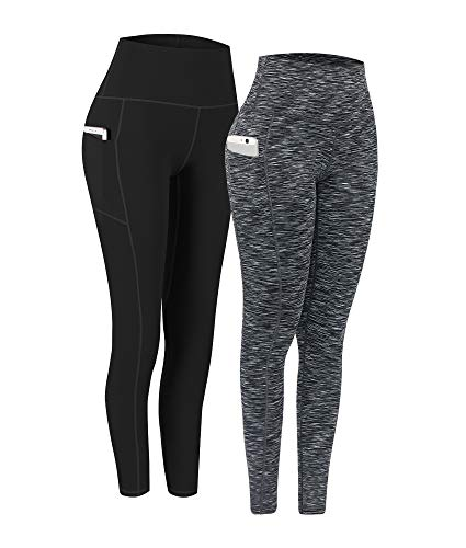 2 Pack High Waist Yoga Pants, Pocket Yoga Pants Tummy Control Workout Running 4 Way Stretch Yoga Leggings (Black & 9622 b, Medium)