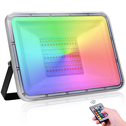 100W RGB LED Strahler mit Fernbedienung, 10000LM 16 Farben und 4 Modi LED Flutlicht Wasserdicht IP67 Dimmbar Außenstrahler Scheinwerfer für Abschlussball Garten Party (ohne Speicher)