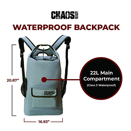 Chaos Ready   Waterproof Backpack - Durable Heavy Duty Dry Bag   W/Padded Shoulder Straps and 2 Mesh Side Pockets   Designed for Hiking, Travelling and Kayaking for Men and Women   22L, Grey  