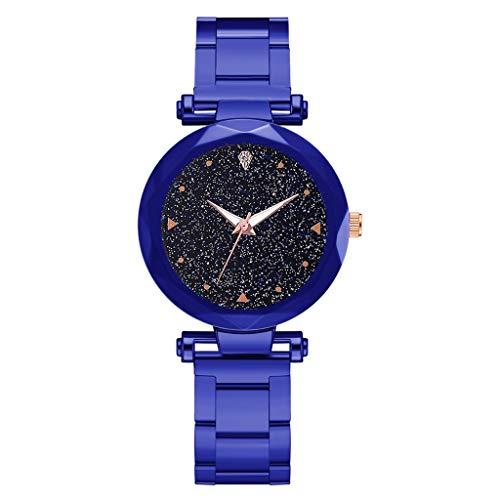 Leey Damen Armbanduhr mit Edelstahlgürtel Günstige Sternenhimmel Zifferblatt Uhr Mode Analog Quarz Armreif Uhren Edelstahl Armband Damen-Armbanduhr Wasserdicht Watch Chic