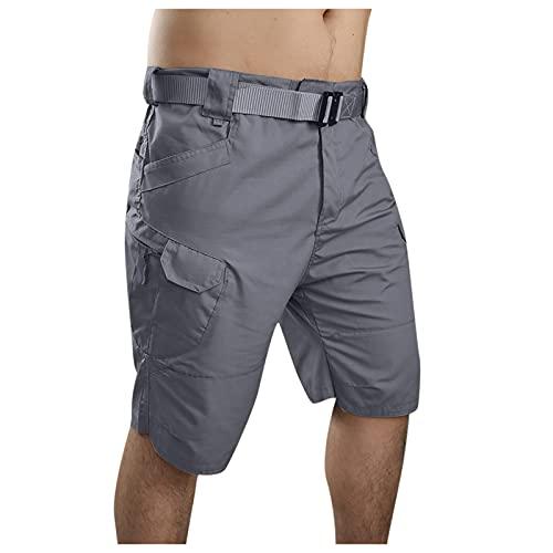 Sdacndas Pantalones cortos Cargo para hombre, estilo vintage, pantalones cortos de verano, tácticos, para exteriores, pantalones de trabajo, A-gris, L