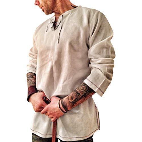 Celucke Herren Mittelalter Leinenhemd Sommer Herbst Hemden Langarm Retro-Kragen mit Schnürung, Männer Freizeithemd Casual Leinen Yoga Shirt Fisherman Sommerhemd (Gelb, L)