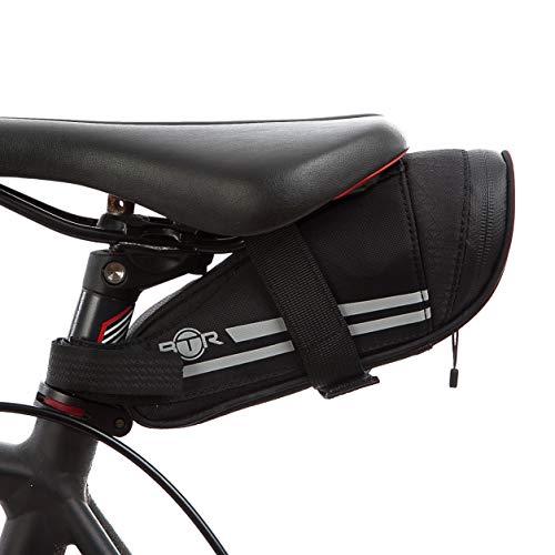 BTR leichte Fahrradtasche mit Reflektion, Keil Satteltasche mit wasserfesten Reißverschlüssen & Rücklicht-Befestigung. Recycelbare Verpackung