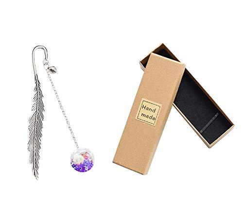 Marque-page en métal avec plumes et perles de verre séchées en forme de fleur - Cadeau pour les amateurs de livres, les étudiants, les filles - Violet