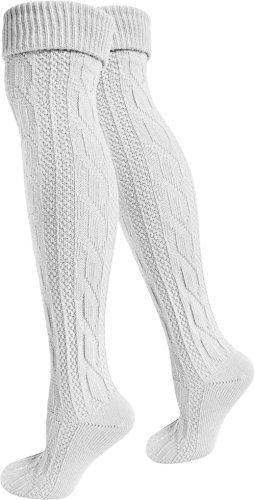 normani 2 Paar Oktoberfest Kniestrümpfe Trachten Socken EXTRA LANG aus Baumwolle Farbe Weiß Größe 43/46
