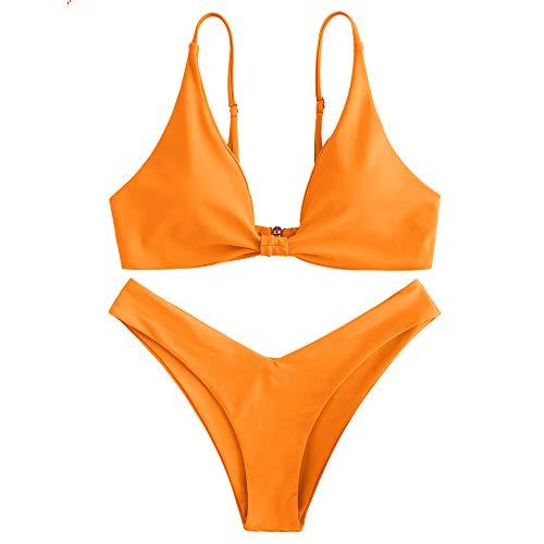 ZAFUL Damen Gepolsterte Bikini Set, Push Up Badeanzug mit Vorderknoten-Hinterhaken-Stil in einfarbige Bademode Sommer (Orange, M)