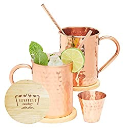 100% solid copper moscow mule mug set of 4 with coasters and gift package
